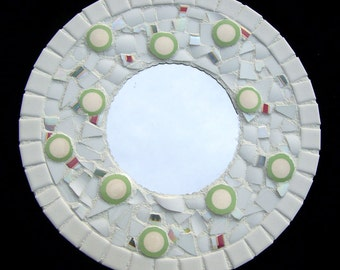 Shabby Vintage China Mosaic Mirror with Polk Dots Pique Assiette