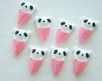 8 pcs Panda Ice Cream Cabochon (14mm21mm) CD413