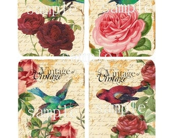 Instant Download - Vintage- 3x5 - Printable  Digital Collage Sheet - Down Load Images - Tags