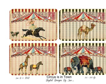 INSTANT DOWNLOAD - The Circus Is In Town - High quality digital sheet - Printable Download  - Hang Tags - One of a Kind