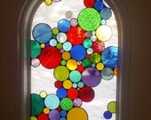 """Stained Glass Window Panel / """"Bubbles Mix"""" (W-27)"""