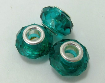 SALE - Teal Faceted Glass Big-Holed Rondelle Beads - Set of Three