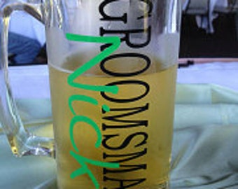 Groomsman Personalized Beer Mug with name and title