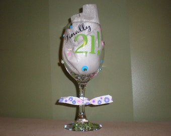Finally 21 Wine Glass Personalized with polka dots and rhinestones
