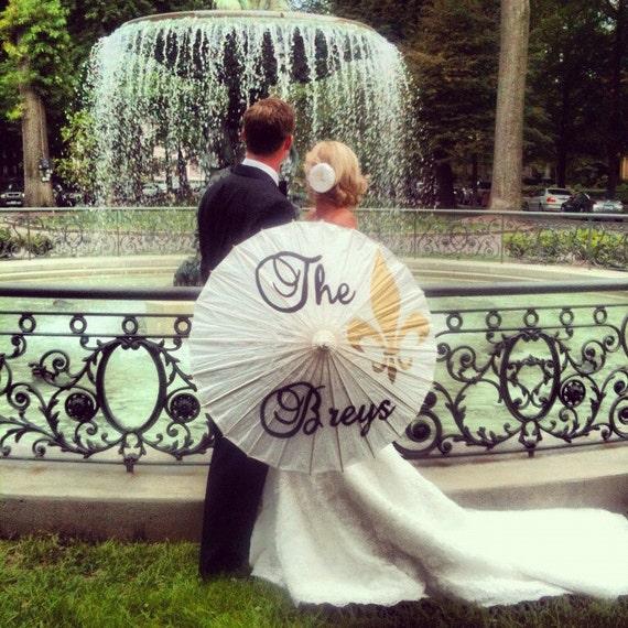 Damask or Fleur De Lis Parasol for your Wedding Photos