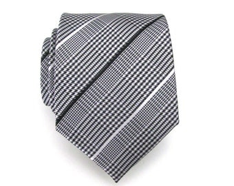 Mens Tie - Black and White Plaid Silk Necktie