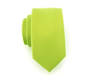 Mens Ties. Necktie Lime Green Mens Skinny Tie