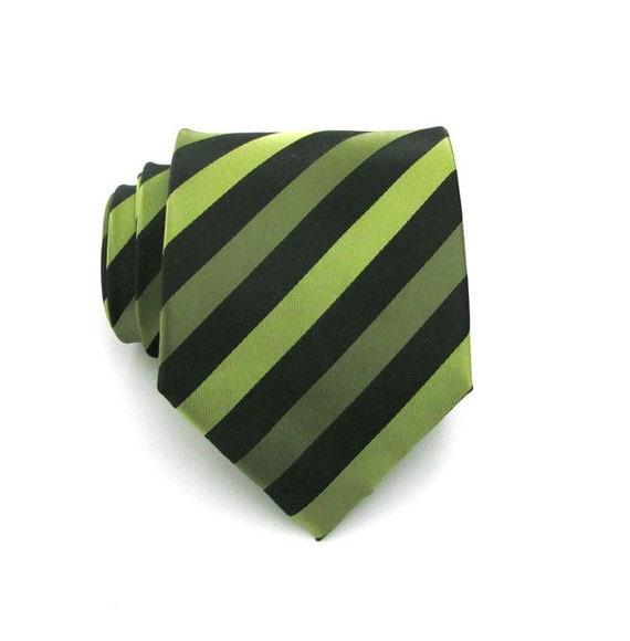 Mens Tie - Black and Green Striped Silk Necktie