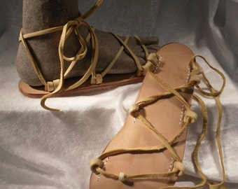 Tahiti Leather Lace Up Sandals, Your choice of Non metallic colors
