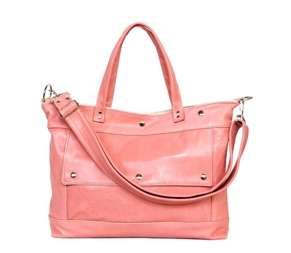 SALE - Leather Laptop Briefcase in Blush Rose Pink Leather - Archive Bag - Made to Order