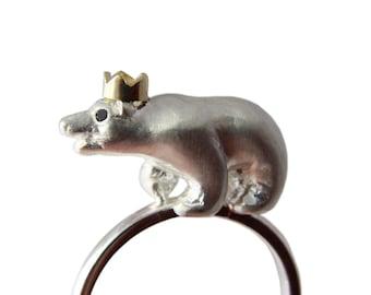 Polar Bear Ring, Precious Bear Ring, Sterling Silver, Black Diamonds and Gold Crown, Handmade Jewellery