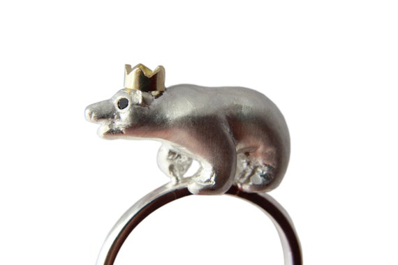 Polar Bear Ring Precious Bear Ring Sterling Silver Black