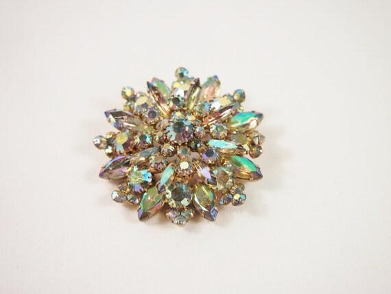 Snowflake Rhinestone 50s Brooch Vintage Jewelry