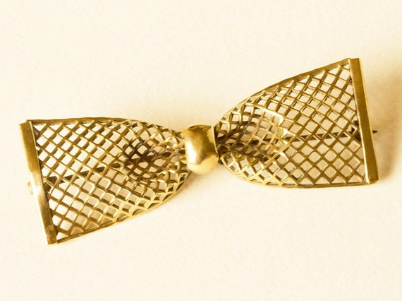 Vintage Goldtone Mesh Bow Brooch - Art Deco 1930s
