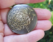 Dandelion Wishes Locket Original Artwork Engraved Design on Brass Vintage Locket