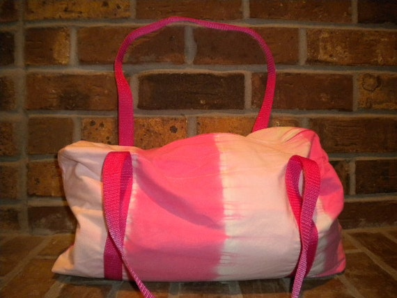 Dark and Light Pink Tie-Dye Gym Bag or Overnight Duffel Bag