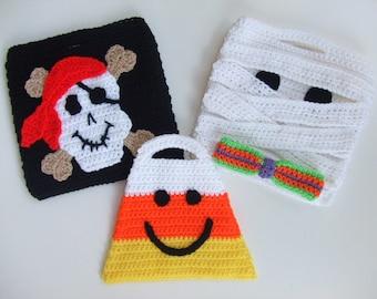 CROCHET PATTERN - CV101 Halloween Trick or Treat Bags - Pirate - Mummy - Candy Corn - PDF Download