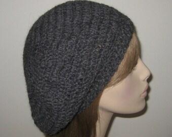 Charcole Alpaca Slouchy Beret Dread Tam Hat