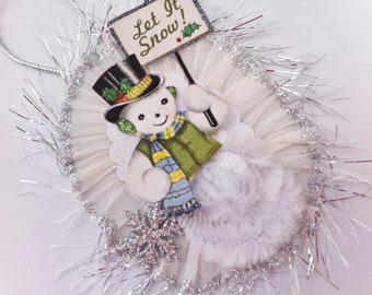 SNOWMAN Let it Snow CHRISTMAS vintage style chenille ORNAMENT oval medallion