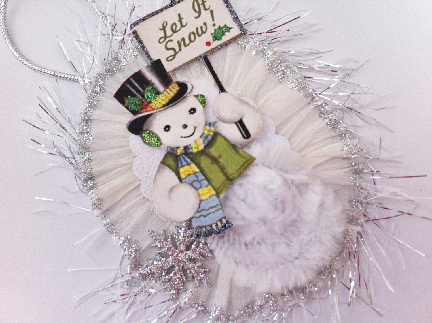 Snowman let it snow christmas vintage style chenille ornament