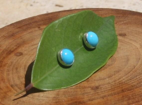 Sleeping Beauty Turquoise Handmade Sterling Silver Stud Post Earrings 8mm