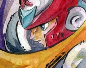 Zero - Mega Man Watercolor and Ink Painting - Capcom Fan Art - ACEO by Jen Tracy