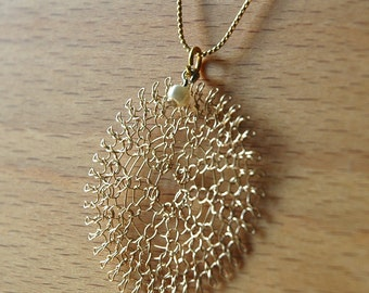 PEARL - Unique gold knitted large flower pendant necklace with a fresh water pearl,  jewelry June