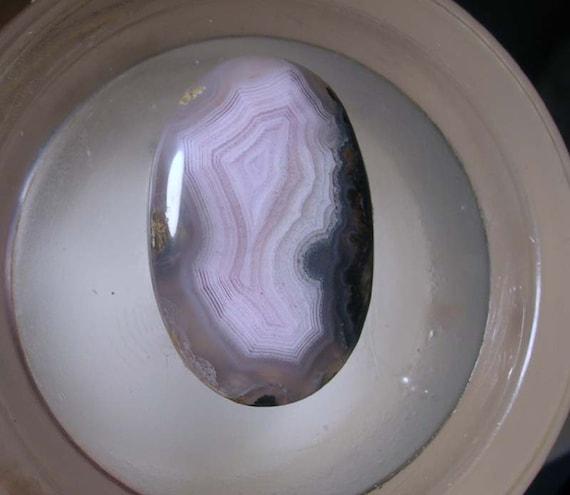 Laguna Agate Classic Oval Cut Cabochon Lavender Pink