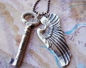 Guardian Angel Wing and Key Necklace, Sterling Silver Necklace Gift, Unisex Jewelry, Wing Jewelry, Key Jewelry, Wing Necklace Gift Jewelry