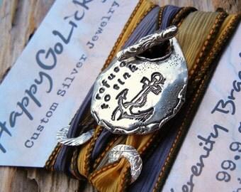 Silver Jewelry, Wrap Bracelet, Silk Wrap Bracelets, Inspirational Quote Jewelry, Custom Silver Jewelry Wrap Bracelets, Inspirational Jewelry