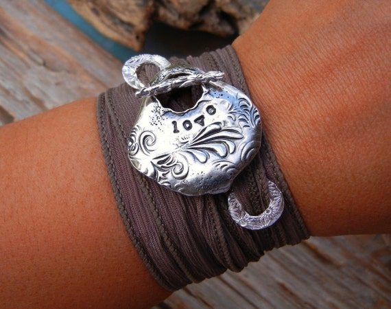 Love Jewelry, STERLING SILVER Silk Ribbon Wrap Bracelet, Romantic Gift for Her, Hand Made Sterling Silver Wrap Bracelet, Gift for Women