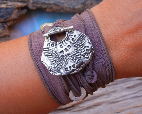 Steampunk GIFT Idea, Steampunk Jewelry Gift, Steampunk Silk Wrap Bracelet, Not All Who Wander Are Lost, Silver Jewelry Gift Under 50 Dollars