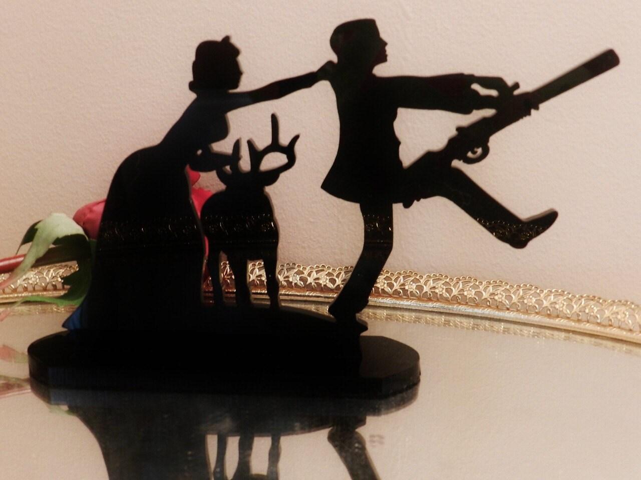 Items similar to Deer hunter hunting Silhouette Wedding