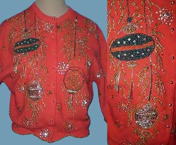 Vintage 50s 60s Red Beaded Sweater Chinese Lanterns Gene Shelly S