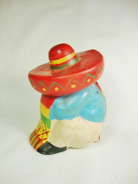 Vintage Pottery Texas Coin Bank Sombrero Mexican