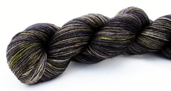 Midnight Moon--hand dyed sock weight yarn, merino and silk, (437yds/100gm)