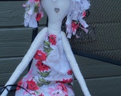 Whimsical Rag Doll made from Vintage Tablecloth