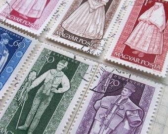 Folk costumes stamp set - vintage postage - Hungary - postage stamp ephemera