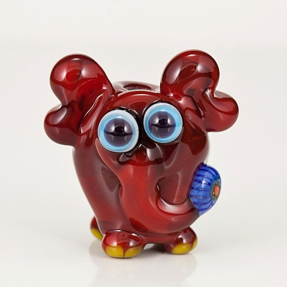RESERVED for RAVEN - Red Circus Elephant Lampwork Glass Bead