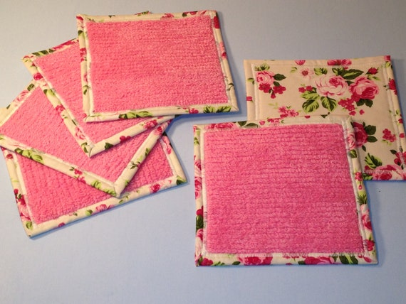 Shabby Chic Coasters, 6 Chenille Mug Rugs, Furniture Protectors, Drink Pads, Cottage Chic, Victorian