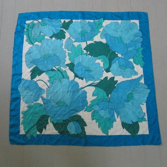 Huge Vintage 1960s Turquoise Aqua Blue Silk Poppy Print Scarf