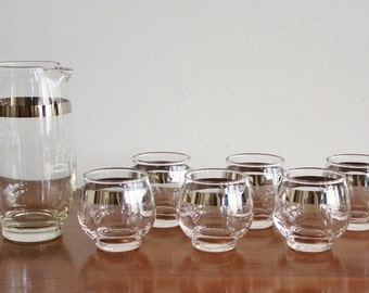 1960s Vintage set of silver trimmed glasses with pitcher