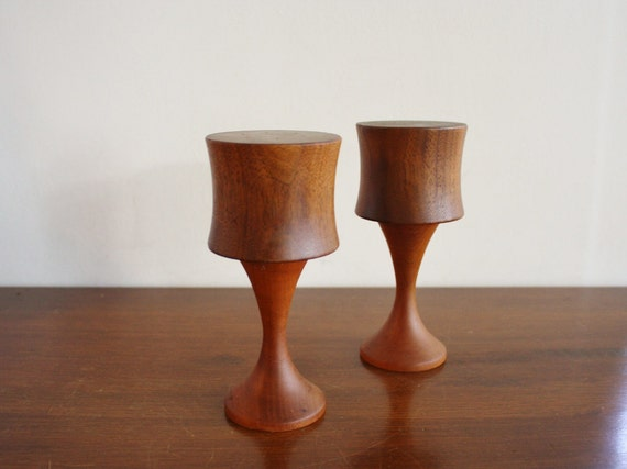 Midcentury wooden pair salt and pepper shakers