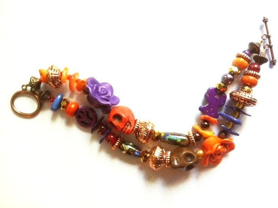 Day of the Dead Rockabilly Orange Purple and Brown Double Strand Bracelet