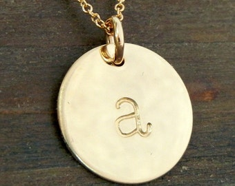 Gold Initial Necklace, CHELSEA gold lowercase typewriter 14K gold-filled charm letter necklace by E. Ria Designs