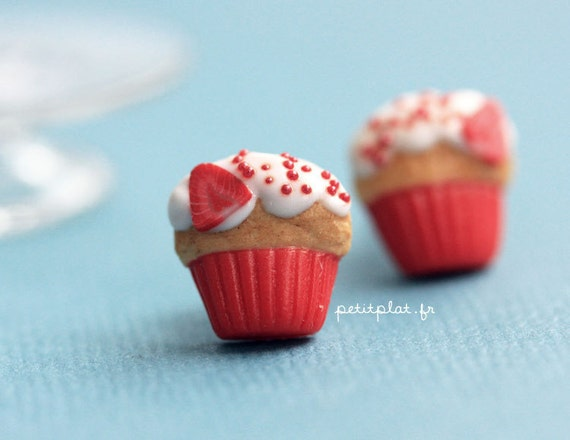 Strawberry Cupcake Studs / Post Earrings - Cupcake Collection