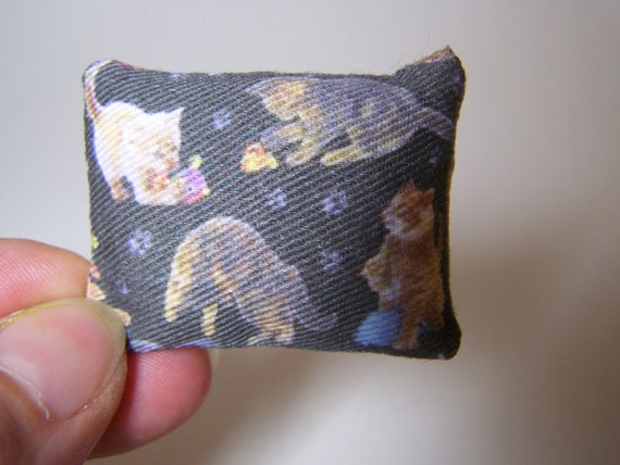 Custom order cat bed/  throw pillow / cushion with cat print 12 scale miniature