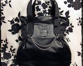 Custom Gothic Black Skull Brocade Pleather Hobo Bag - VALKYRIE - Warning Label Creations
