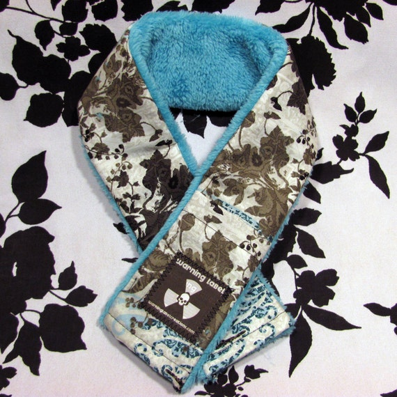 Fuzzy Soft Gothic Camera Strap Cover - Blue Floral Damask Print - Warning Label Creations