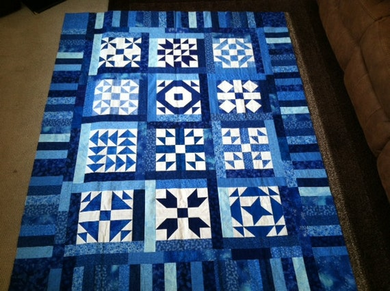 Blue and White Twin Size Quilt Top